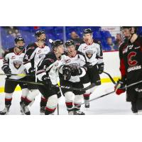 Vancouver Giants celebrate a Jacob Gendron goal