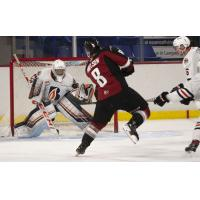Vancouver Giants centre Tristen Nielsen shoots against the Kamloops Blazers