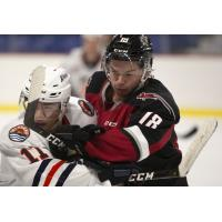 Vancouver Giants centre Cole Shepard (right) vs. the Kamloops Blazers